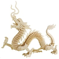 S00880 QWinOut 3D Chinese dragon Shape Wooden Puzzles DIY Wood Jigsaw Home Decoration Adults Children Toy+ FP