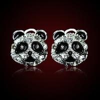 QMODE 2015 Fashion Panda Earrings Delicate Cute Little Panda Rhinestones Ear Stud High Quality