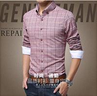 UDOD Brand Spring & Summer Mens Dress Shirts Fashion Casual Shirts Slim Fit Cotton Long Sleeves Plaid Shirts M-4XL 5XL EB8223
