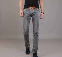 2015 New Jeans Slim Fit Straight Male Trousers Zipper Style  pants free Shipping