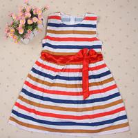 Baby Girl Dress Colorful Stripe Bow Dress Kids Sundress One Piece Vest dress