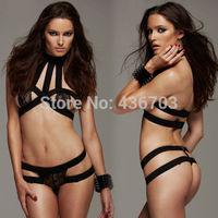 Sexy Women Lace Lingerie Underwear G-String Nightwear Babydoll Black Sleepwear Racy black lace straps Set