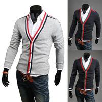Men's Stylish Stripe V Neck Cardigan Luxury Slim Fit Knit Sweater  Coats Jackets