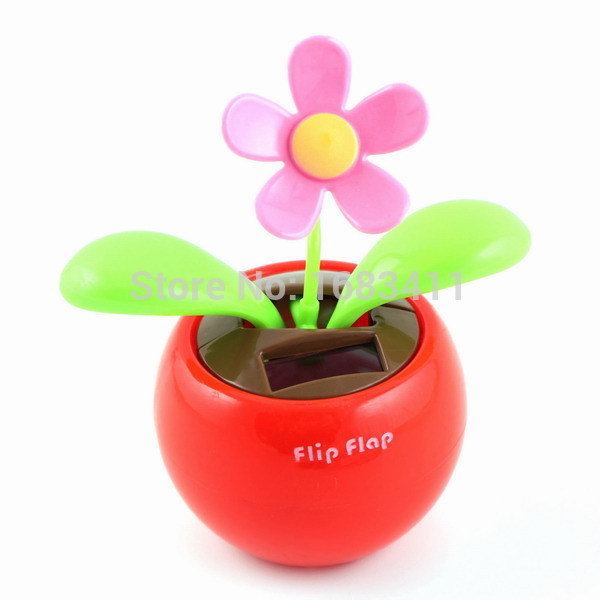Best Seller Price! New Solar Power Flip Flap Dancing Flower Toy For Car or Desk Gift(China (Mainland))