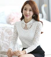 Fast/Free shipping 2015 Plus Size Fashion Korean Clothing Fleece Casual Blusas Femininas Lace Slim Blouse Women Blouses C0209