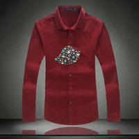 Mens Corduroy Shirt 2015 New Arrive Plus Size Casual Slim Shirt Size 5XL 4XL 3XL 2XL Dress Shirt Camisa Masculina