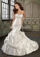 2015 Hot Sale Long Mermaid Taffeta Sweetheart Wedding Dresses Court Train Vestidos De Noiva Bride Dress Bridal Gown