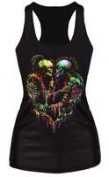 2015 Fashion women Tops Digital printing CLOSE FITTING Render vest  Camisole H vest weskit rock Skull undershirt Tank top