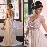 Sexy Backless Long Sleeve Beadin Beach Wedding Dresses Customized Chiffon Vestido De Festa Longo Romantic Bridal Gowns 2015