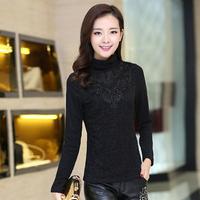 Fast/Free shipping 2015 Plus Size Fashion Korean Clothing Casual Lace Basic Slim Fleece t shirt Women Tops C2081