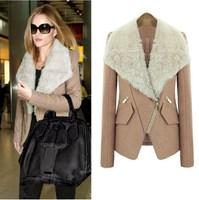 New Fashion  Winter Women Coat  High Quality Jacket Turn-down Big Fur Collar Wool Coat Witn Zipper DHL Free Shippng TPS063