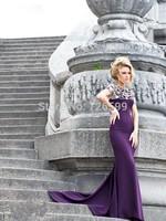 HYL New Elegant Purple Sheath Satin Prom Dresses Exquisite Beading Short Sleeve Floor-Length Formal Evening Dresses Custom Size