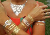 New gold tattoo sex products necklace bracelets tatoo metal temporary tattoo women flash metalic fake gold silver tattoos WX6-10