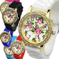 10pcs lot Crystal Flowers women watch Retro fashion Roses Silicone wristwatch woman rhinestone Golden Watch Wholesale