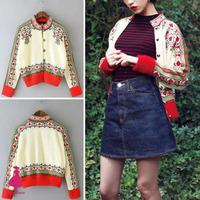 2015 Vintage Ethnic Women Floral Print Cardigan Short Knit Sweater Coat Jacket Tops