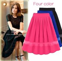 Summer Lady New style skirt chiffon pleated elegant stitching woman Skirts retail free shipping