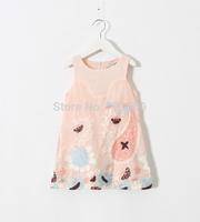 2015 Baby Girls Floral Embroidery Vest Dresses Princess Elegant Summer Party Wear White Pink 6 pcs/lot ,  Wholesale