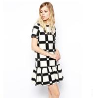 Summer  Women short sleeve casual dress fashion grid printing hem Dresses retail
