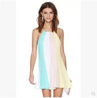 2014 Fashion Sexy Summer Colorant Match Loose Racerback Cross Spaghetti Strap Chiffon Female Dress