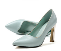 2015 spring and summer women's leather shoes, fashion wild pointed rough high heels