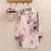 blusas femininas 2015 spring new casual long-sleeved blouse printed cotton women blouses collar  long sections roupas femininas