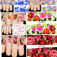 1 sheets Beautiful Flowers Nail Art Nail Decals Water Transfer Printing Stickers Decoration Salon DIY Manicure Tools
