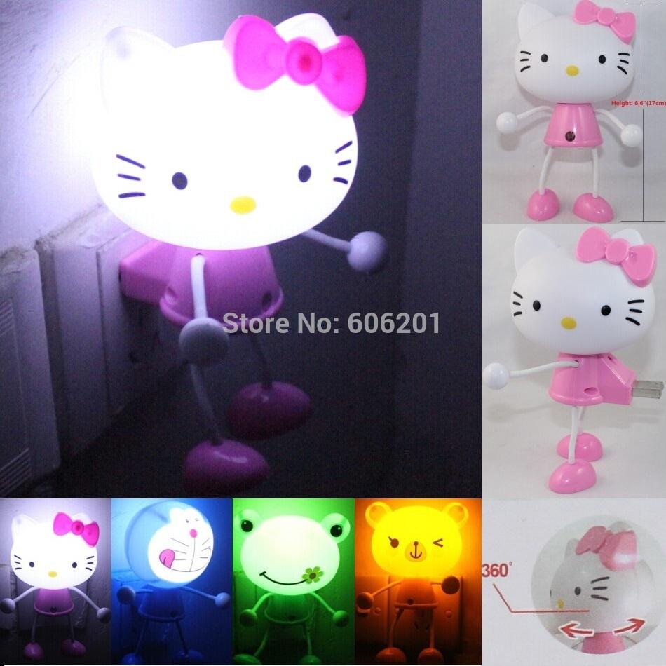Cartoon Hello Kitty Rilakkuma Doraemon Frog LED Photoreceptor Light Control Sensor Night Lights,Hallway Bedroom Lamps Light(China (Mainland))