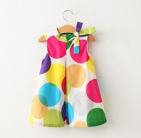 2-7year girls summer dress 2015 colorful dot bow A-line dresses for little girl sleeveless beautiful infant baby casual dress