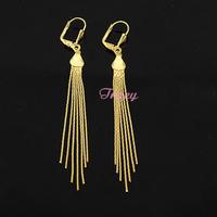 Womens 18k Yellow Earrings Yellow Gold Filled Drop Long Earrings Tassel Jewelry