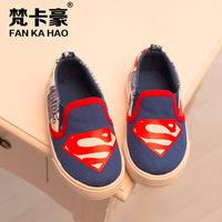 free shipping new style fashion 2015 children boy Cartoon Superman Spiderman Batman League canvas shoes baby Casual shoes