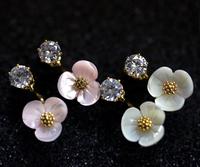 After the Korean Zircon Ear shell flowers hanging earrings dual