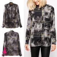 Vintage Women Clouds Smoke Plaid Print Lapel Long Sleeve Casual Shirt Blouse Top 2015