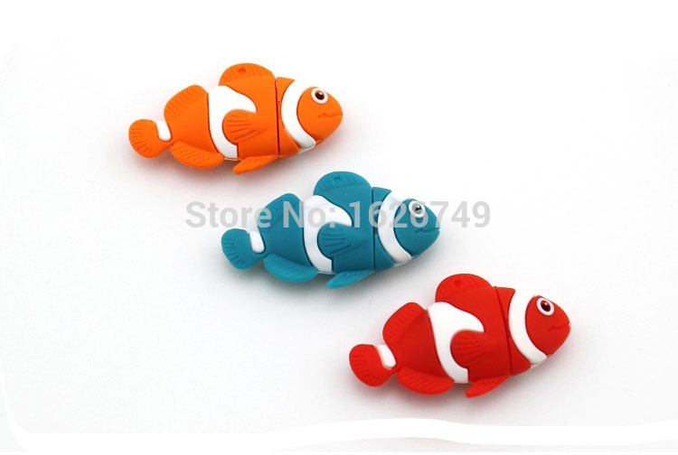 3 colors lovely fish usb flash drive pendrive 8gb 32gb little animal pen drive 16gb memory stick cartoon USB 2.0 free shipping(China (Mainland))