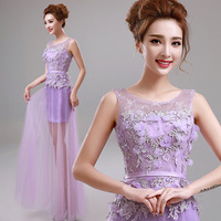Purple dinner evening banquet solid color formal dress  A8266#