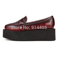2015 Women's Vintage Leather Creepers Platform Flats Shoes New Fashion Round Toe Flat Platform Slip On Harajuku Creepers Shoes