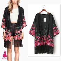 2015 Gypsy Women Boho Flower Print Kimono Cardigan Shirt Blouse Jacket Tassels Tops