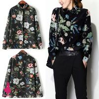 2015 Women Vintage Plant Floral Print Lapel Long Sleeve Casual Shirt Blouse Tops