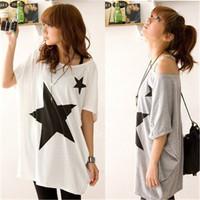 Free Shipping Hot Sale Fashion Women's Loose Star Print Bat Short Sleeve T-shirt Cotton Long Tops Blouse t shirt White Gray