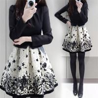 Vintage Fashion Long Sleeve Print Elegant Gown Women Dress Brands Plus Size Casual Ladies Vestidos Slim Female Dresses 30442