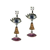 Exclusive custom D * lfina D * lettrez925 Needle Micro Pave earrings facial blast wave