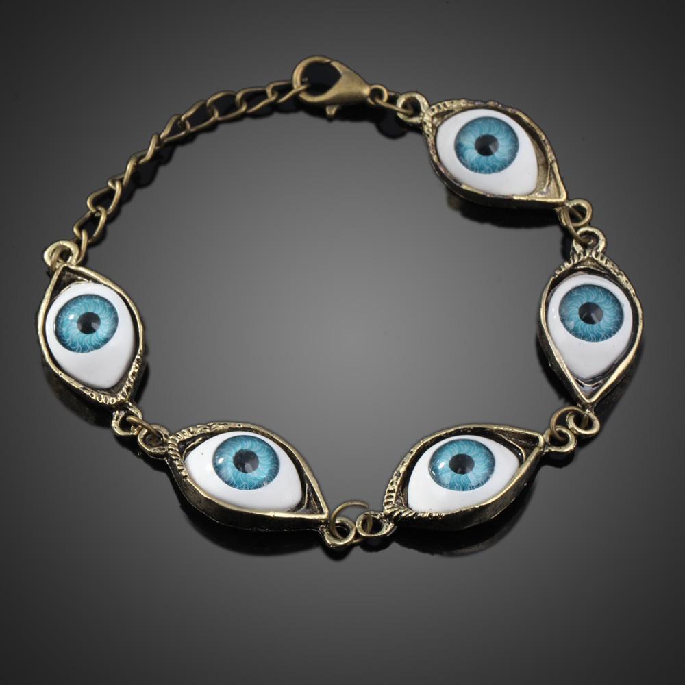 Fashion Punk Rhinestones Studded Evil Eyes Lovely Eyeballs Style Bracelet Free Shipping K5BO(China (Mainland))