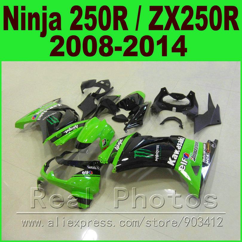 Black green Kawasaki Ninja 250R Fairings kit 2008 2009 2010 2011 2012 2014 ZX 250 EX250R 08 09 - 14 fairing body kits K0J8(China (Mainland))