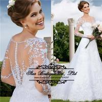 2015 New Arrival Long Sleeves Backless Long A Line Court Train Lace Wedding Dresses Bridal Dress Vestido De Noiva