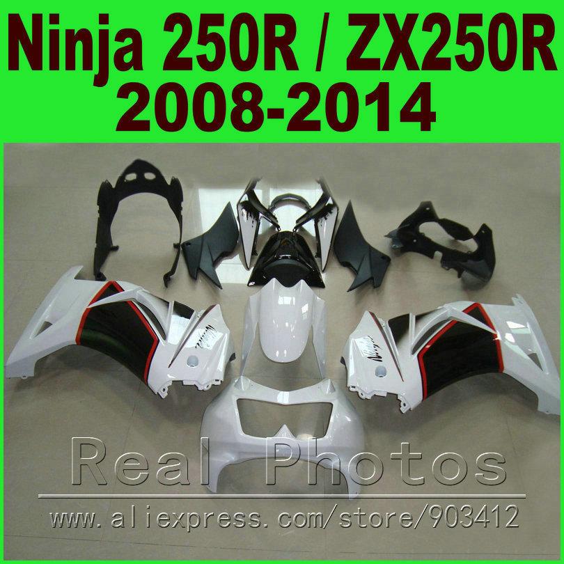 Black white Kawasaki Ninja 250R Fairings kit 2008 2009 2010 2011 2012 2014 year ZX 250 EX250R 08 09 - 14 fairing body kits K0J1(China (Mainland))