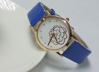 Fashion casual 2015 leather watch sweet flower sports watch women's watch  women's rhinestone Dress Watches