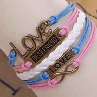 LOVE alloy accessories BEST FRIEND multilayer composite men's bracelet braided leather women jewelry bracelet ladies present