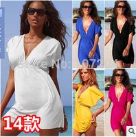 2015 Fashion women summer beach dress cover bra candy color