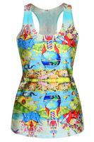 2015 Sexy Sleeveless Blouse Shirt Emoji Fantasy World Adult Print Vest LC25401 Vest Sleeveless T-Shirt Summer Dress