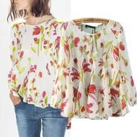 Fashion Ladies Sweet Elegant Fresh Floral Print O Neck Full Sleeve Shirt Blouses Blouse Blusa Casual camisas Women Tops