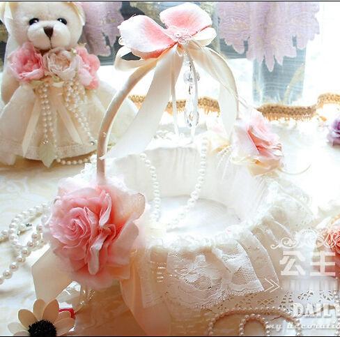 Flower Girl Basket lace Decorated bridal Flower Basekt Bride Wedding Supplies Accessories cestas de casamento boda free shipping(China (Mainland))